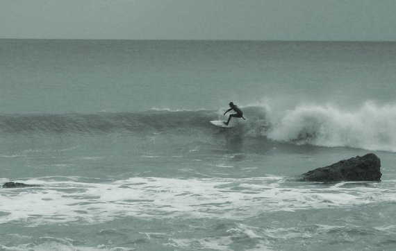 Surfing at Freshwater Bay on the Isle of Wight