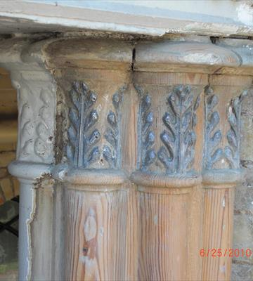 <b>After: </b>Paint removal from column showing depth of paint