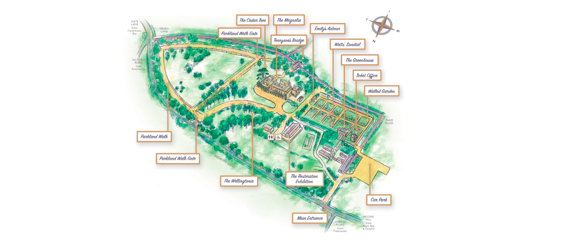 Map of Farringford's grounds